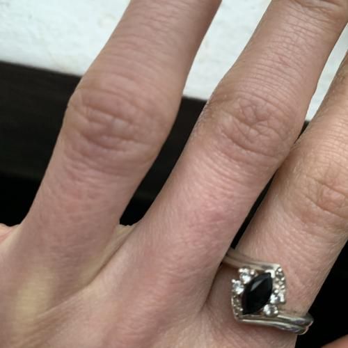 Black sapphire ring with
