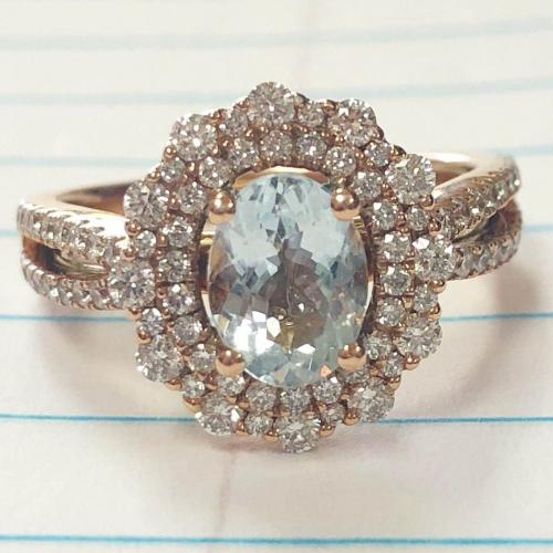 Helzberg Aquamarine Rose Gold