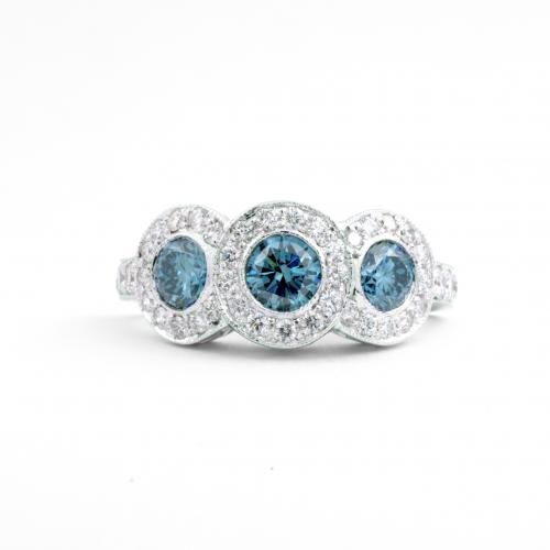 Blue Diamond Cocktail Ring