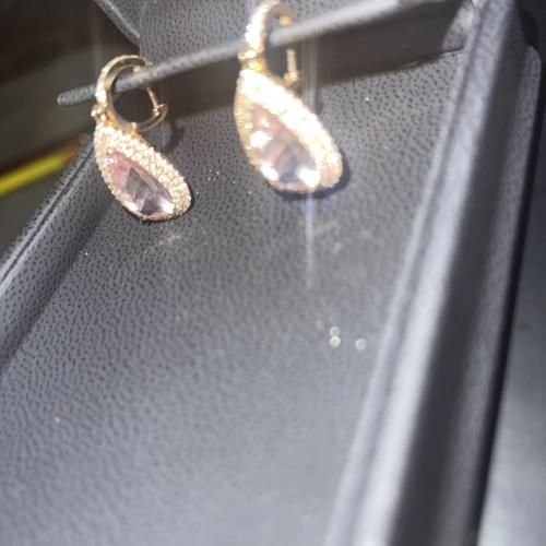Morganite and diamond earrings