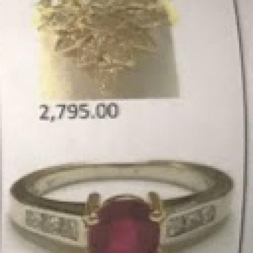 Ruby/diamond/platinum ring