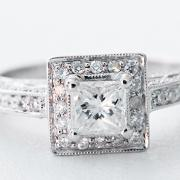 Princess cut pave halo