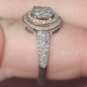 Beautiful diamond cluster engagement