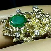 NOS♡ELEGANT EMERALD(.54Ct)♡14K DRIFTWOOD RING♡GENUINE