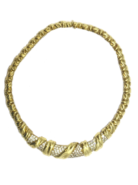 Sculptural Jose Hess gold & pave diamond necklace
