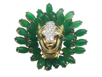 DAVID WEBB Green Onyx and Diamond 'Tiger in the Bush' Pin
