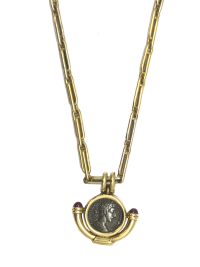 Unique Bulgari long chain coin necklace