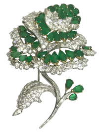 Fabulous French, emerald & Diamond flower pin