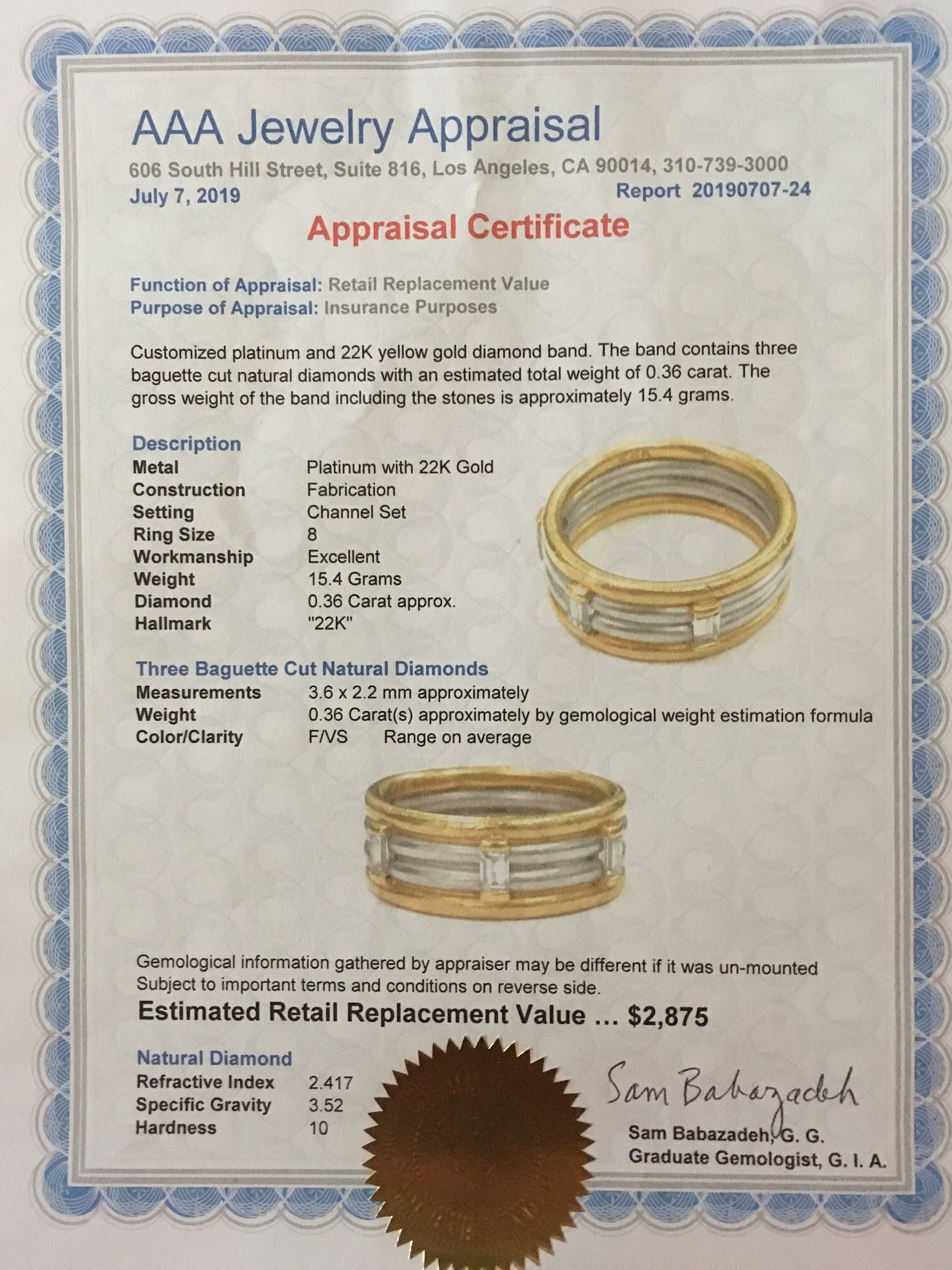 Unique Men's wedding band set on 22K Gold and Platinum with three Diamond  Bagguettes